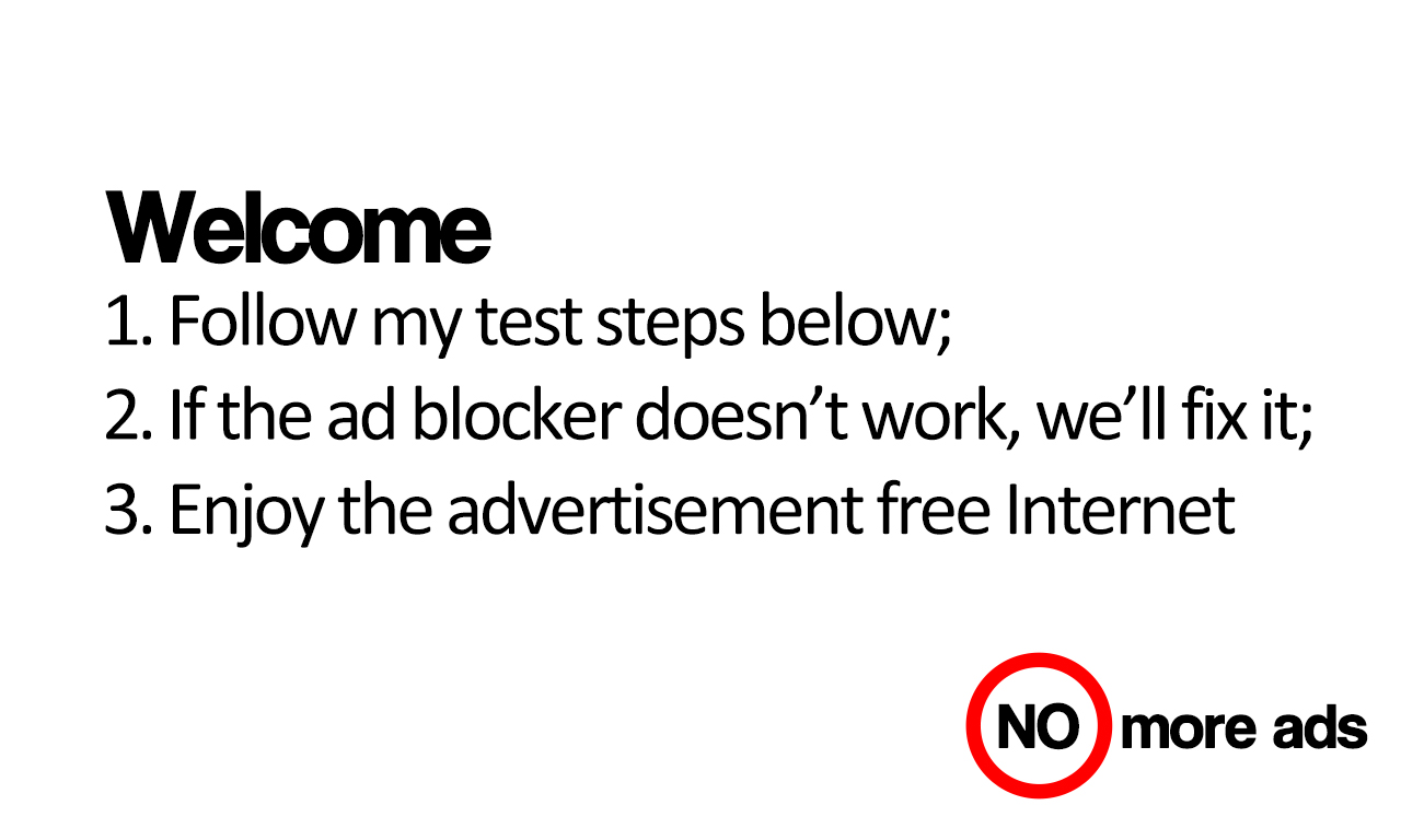 Ad blocker testing steps